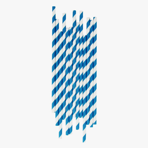 8inch 5mm Paper Straws Candy Blue