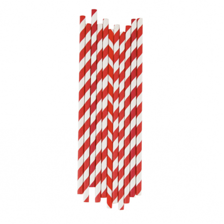 8inch 5mm Paper Straws Candy Red