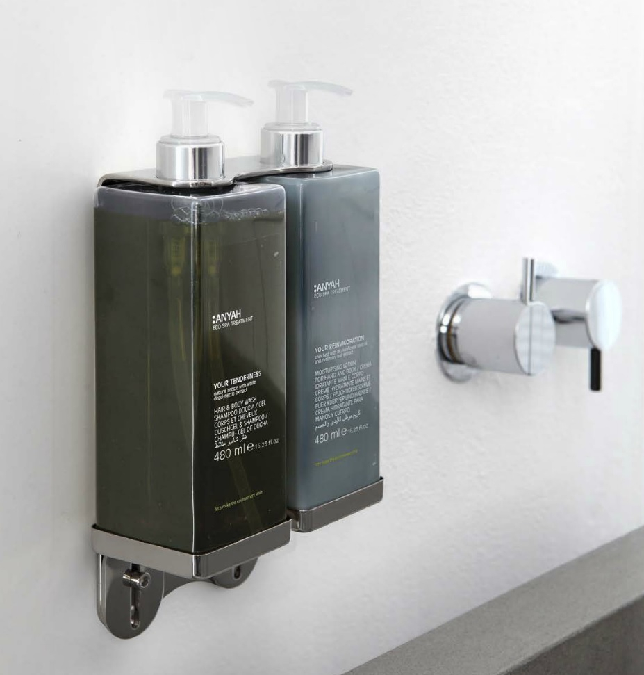 Double Holder for Pump Dispenser in Stainless Steel