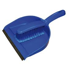 Blue Stiff Dustpan and Brush