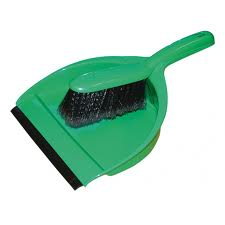 Green Stiff Dustpan and Brush